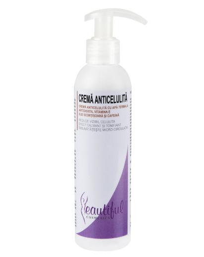 Beautiful Cosmetics - Crema anticelulita cu apa termala, antioxivita, vitamina E, ulei scortisoara si cafeina