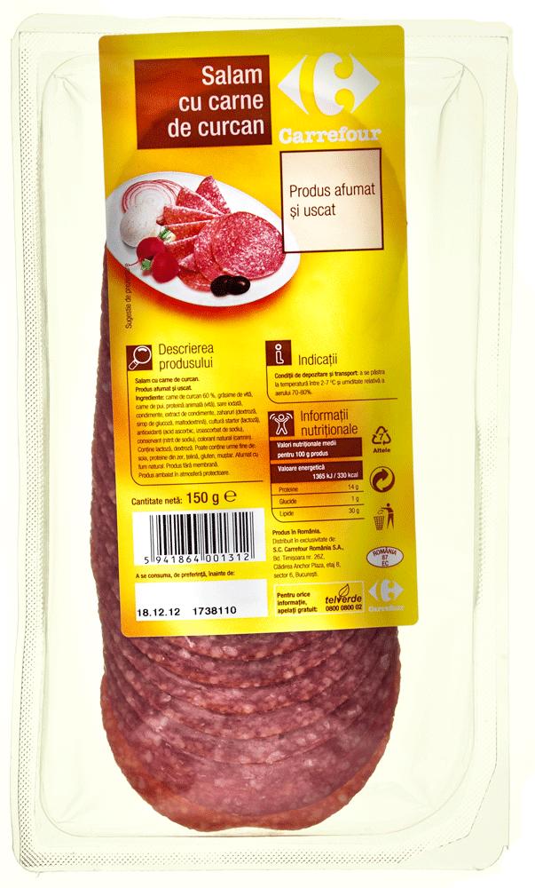 Carrefour - Salam cu carne de curcan, feliat