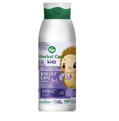 Herbal Care Kids - 3 in 1 Gel delicat pentru baie si dus cu floare de in si aloe, pentru copii