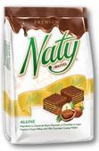 Naty Premium - Napolitane cu crema de alune glazurate cu ciocolata cu lapte